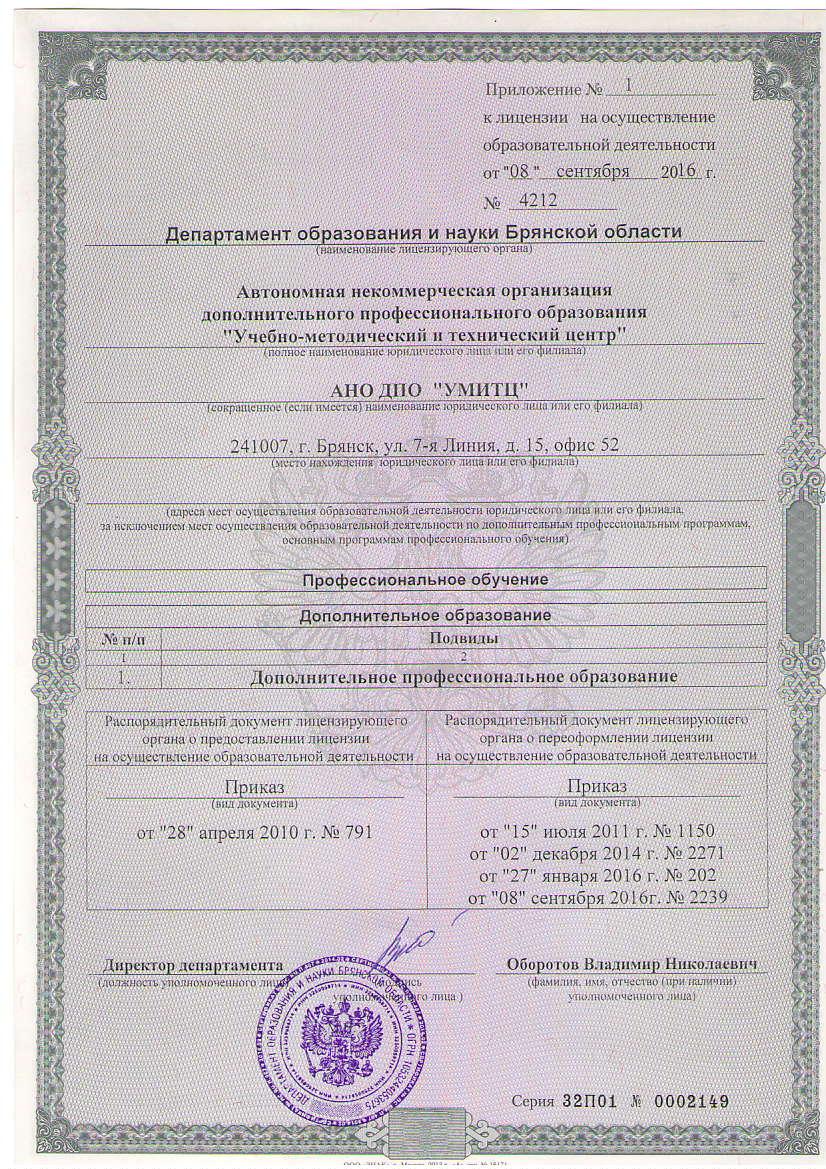 Приложение к ицензии на осуществление образовательной деятельности - Автошкола АНО ДПО УМИТЦ